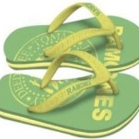 Ramones: Womens Green Logo - Size L (Sandals)